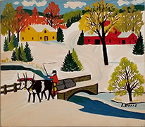 Maud Lewis Oxen Pulling Logs