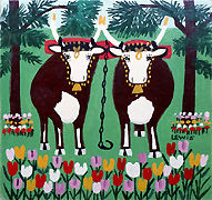 Maud Lewis Oxen In Spring
