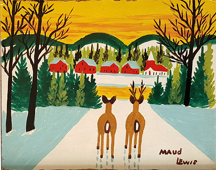 Maud Lewis Two Deer In Sunset