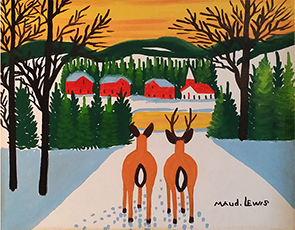 Maud Lewis Deer In Sunset